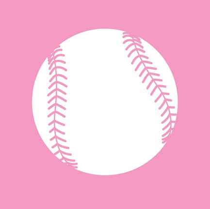 Framed White Softball on Baby Pink Print