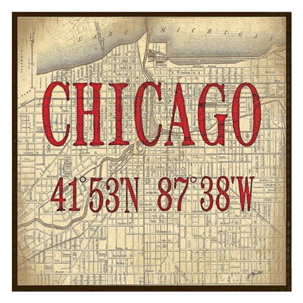 Framed Chicago Latitude and Longitude Print