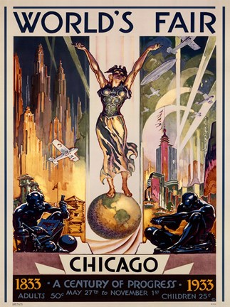 Framed Chicago World's Fair 1933 Print
