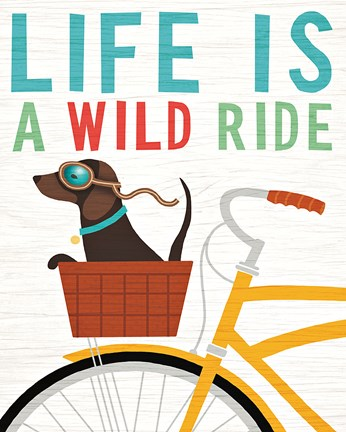 Framed Beach Bums Dachshund Bicycle I Life Print