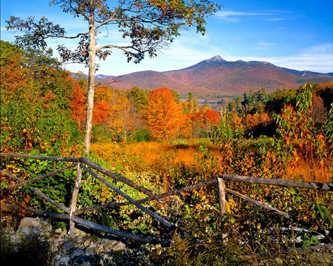 Framed Autumn landscape of Mount Chocorua, New England, New Hampshire Print