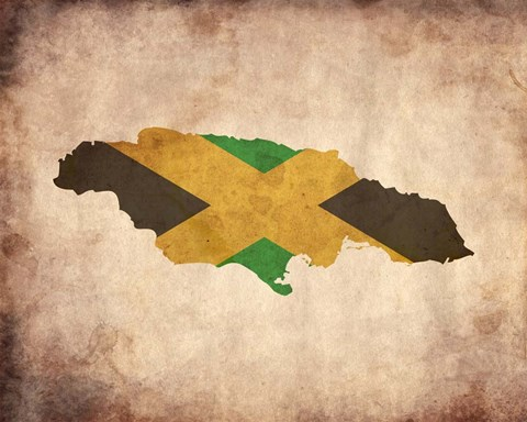 Framed Map with Flag Overlay Jamaica Print