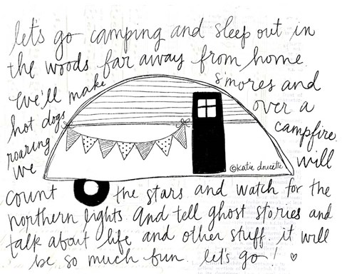 Framed Wordy Camper Print
