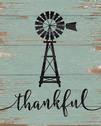 Framed Thankful Windmill Print