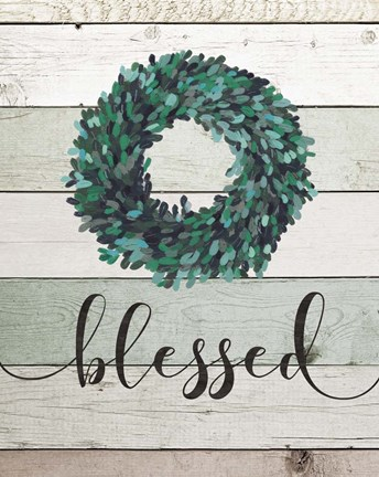 Framed Blessed Wreath II Print