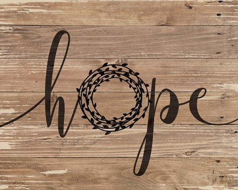 Framed Hope Rustic Wreath Print