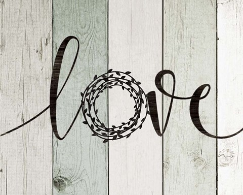 Framed Love Rustic Wreath II Print