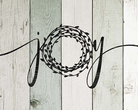 Framed Joy Rustic Wreath II Print