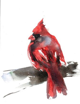 Framed Cardinal on Branch II Print