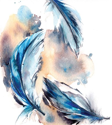 Framed Blue Feathers Print