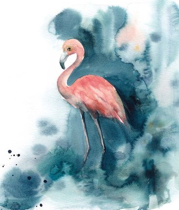 Framed Pink and Blue Flamingo Print