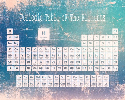 Framed Periodic Table Blue Grunge Background Print
