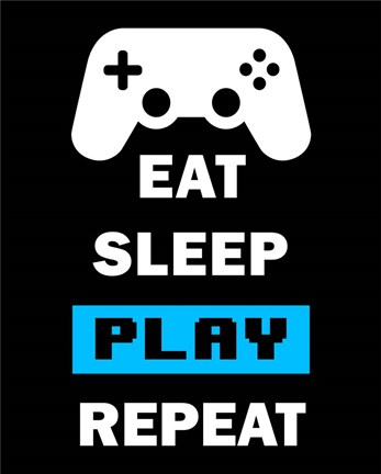 Framed Eat Sleep Game Repeat  - Black and Blue Print