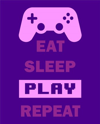 Framed Eat Sleep Game Repeat  - Purple Print