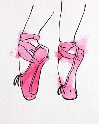 Framed Ballet Shoes En Pointe Pink Watercolor Part I Print