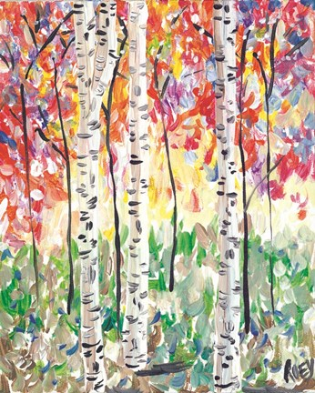 Framed Colorful Birch Forest Print