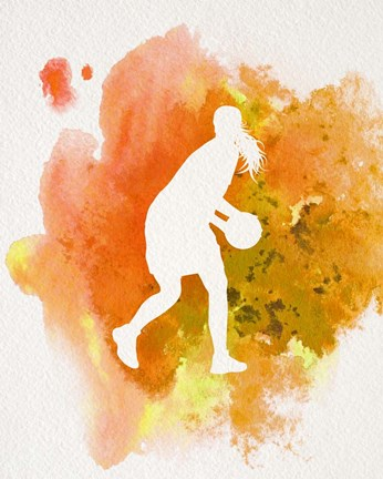 Framed Basketball Girl Watercolor Silhouette Inverted Part III Print
