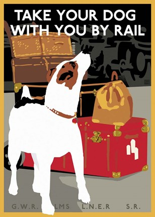 Framed Take Your Dog by Rail Print