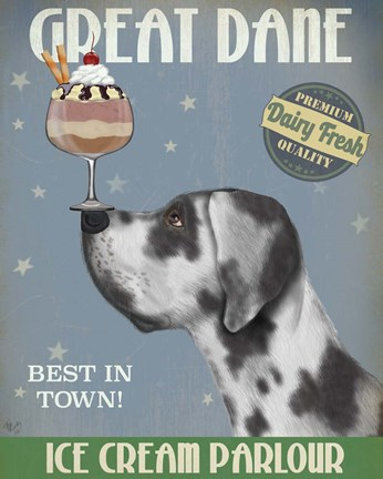 Framed Great Dane, Harlequin, Ice Cream Print
