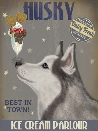 Framed Husky Ice Cream Print