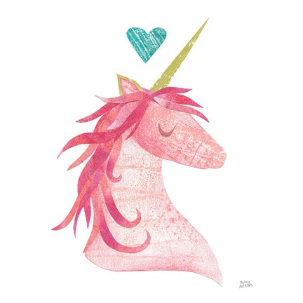 Framed Unicorn Magic II Heart Sq Pink Print