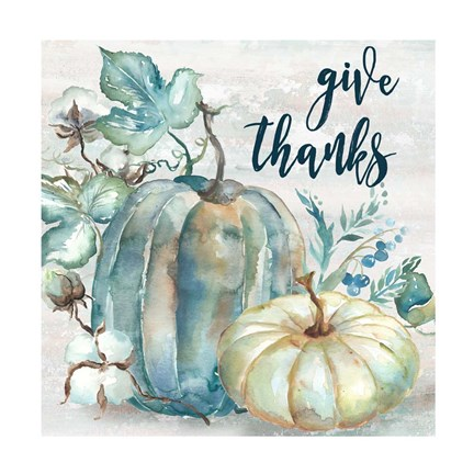Framed Blue Watercolor Harvest Square Give Thanks Print
