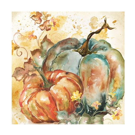 Framed Watercolor Harvest Teal and Orange Pumpkins II Print