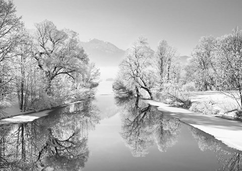 Framed Winter landscape at Loisach, Germany (BW) Print