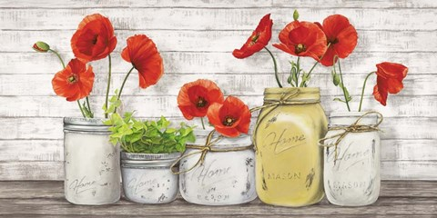 Framed Poppies in Mason Jars Print