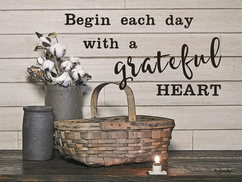 Framed Begin Each Day with a Grateful Heart Print