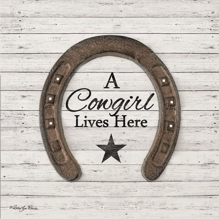 Framed Cowgirl Lives Here Print