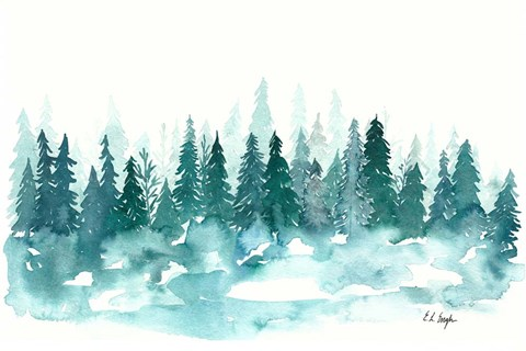 Framed Blue Winter Forest Print