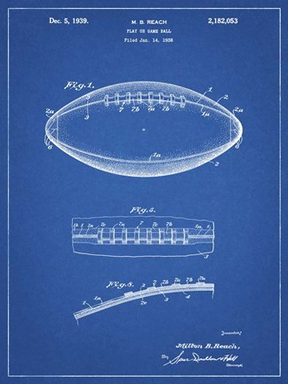 Framed Blueprint Football Game Ball Patent Print