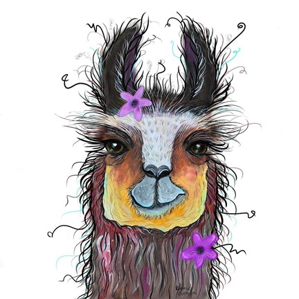 Framed Llama with Purple Flower Print