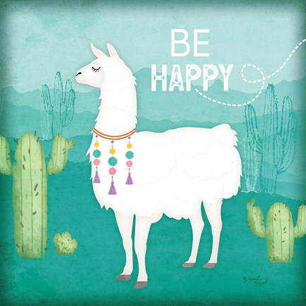 Framed Be Happy Llama Print