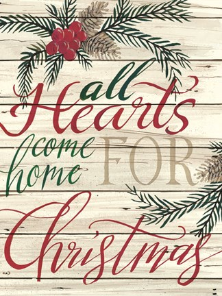 Framed All Hearts Come Home for Christmas Shiplap Print