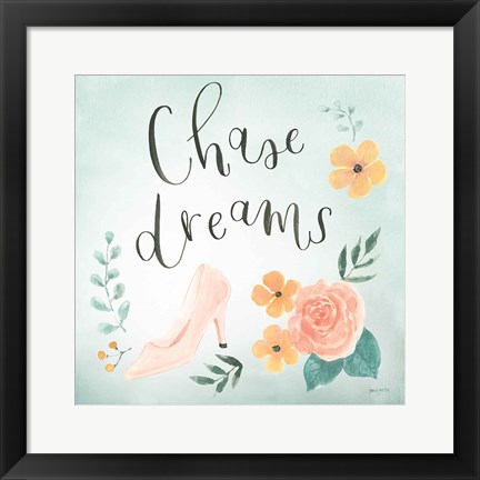 Framed Chase Dreams I Green Print
