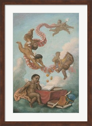 Framed Cherubs Studying Print