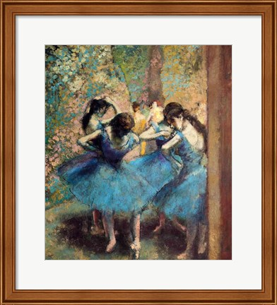 Framed Dancers in Blue, 1890 Print