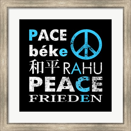 Framed Blue Peace Square I Print