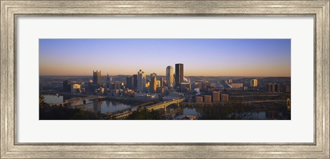 Framed Pittsburgh Buildings at Dawn Print