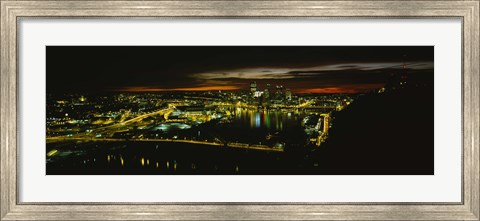 Framed Pittsburgh Buildings at Early Dawn Print