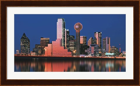 Framed Reflection of skyscrapers in a lake, Digital Composite, Dallas, Texas, USA Print