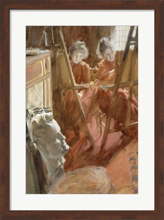 Framed Young Schwartz Girls Drawing, , 1889 Print