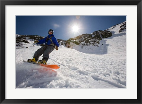 Framed Snowboarder in Tuckerman Ravine, White Mountains National Forest, New Hampshire Print