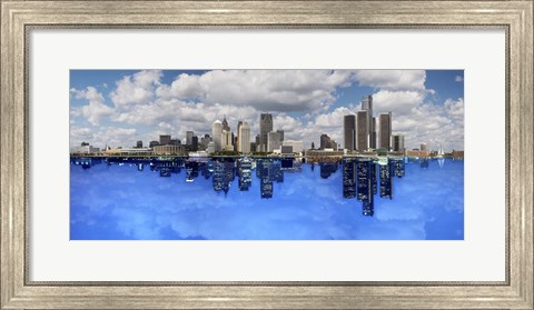 Framed Detroit Day And Night, Detroit, Michigan 07 - Color Pan Print