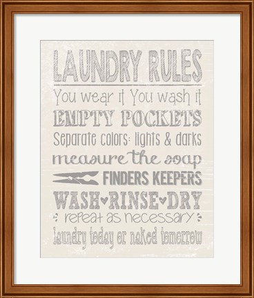 Framed Laundry Rules on Whiate Print