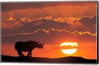 Kenya, Masai Mara Composite Of White Rhino Silhouette And Sunset Fine-Art Print