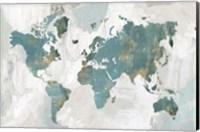Teal World Map Fine-Art Print