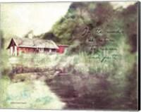 Red Cabin Forest Faith Fine-Art Print